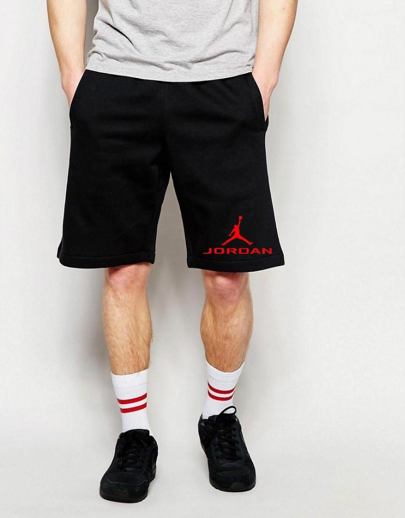 Шорти Jordan ( Джордан ) чорні лого+позначка червоний