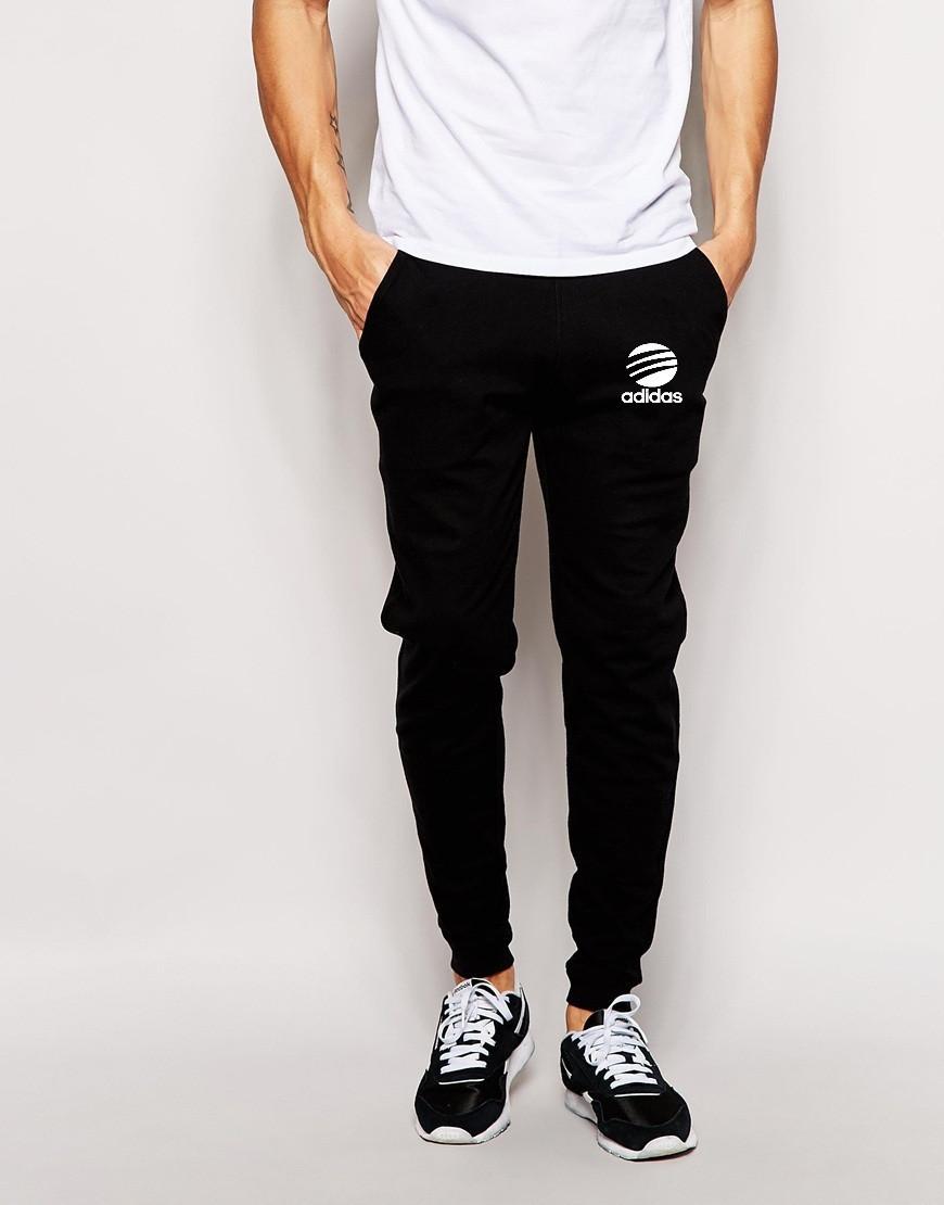Мужские спортивные штаны Adidas | Адидас чёрные лого+имя белое