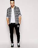 Мужские спортивные штаны Adidas | Адидас чёрные лого+имя белое, фото 2