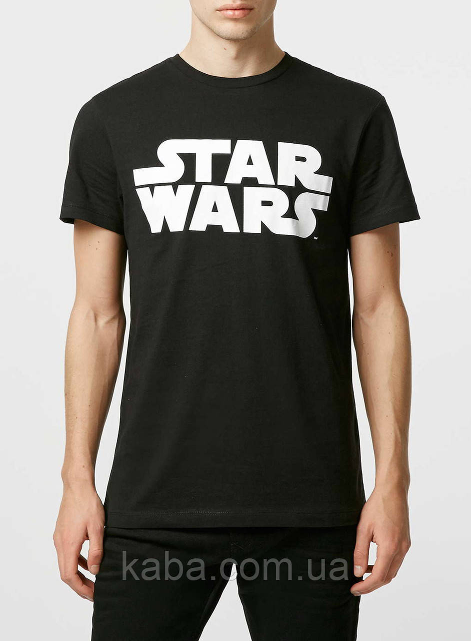 Мужская черная Футболка Black Star Wars Logo