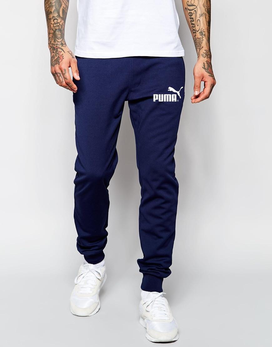 Мужские спортивные штаны PUMA | Пума синие имя+значёк белые