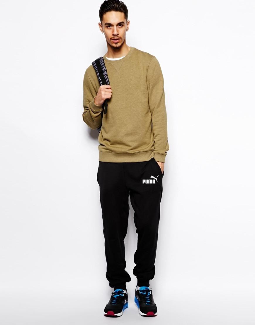 Мужские спортивные штаны PUMA   Пума чёрные имя+значёк белые