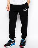 Мужские спортивные штаны PUMA   Пума чёрные имя+значёк белые, фото 2