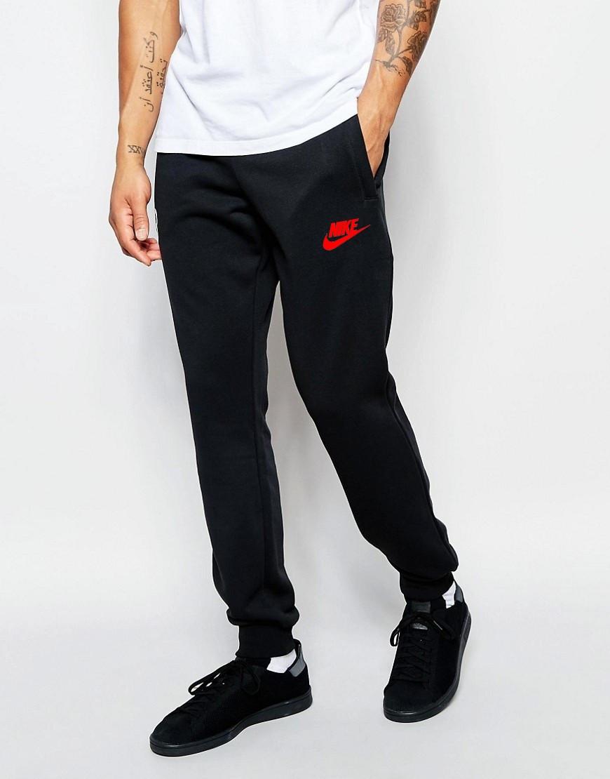Чоловічі спортивні штани Nike | Найк чорні ім'я+галочка червоні