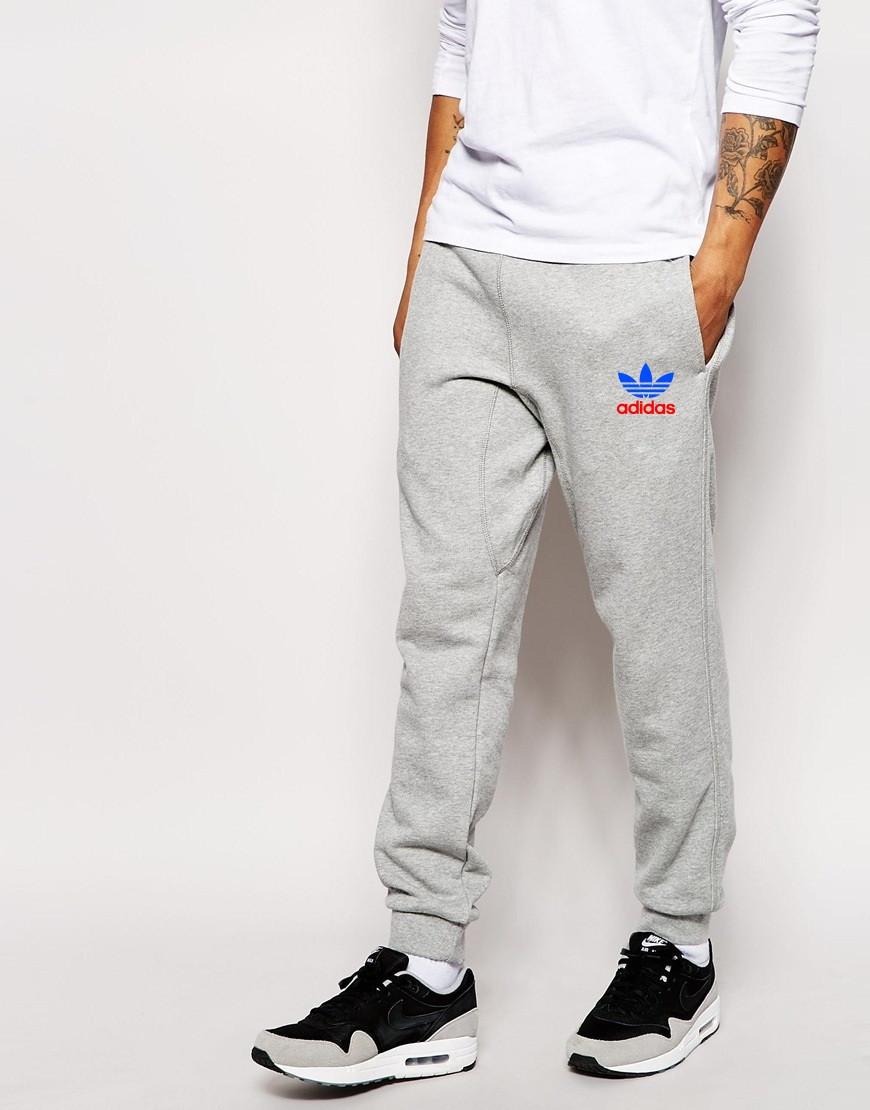 Чоловічі спортивні штани Adidas | Адідас сірі кольоровий лого