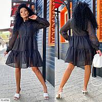 Легке стильне плаття а-силуету розкльошені від грудей з органзи великі розміри 48-66 арт. 7066