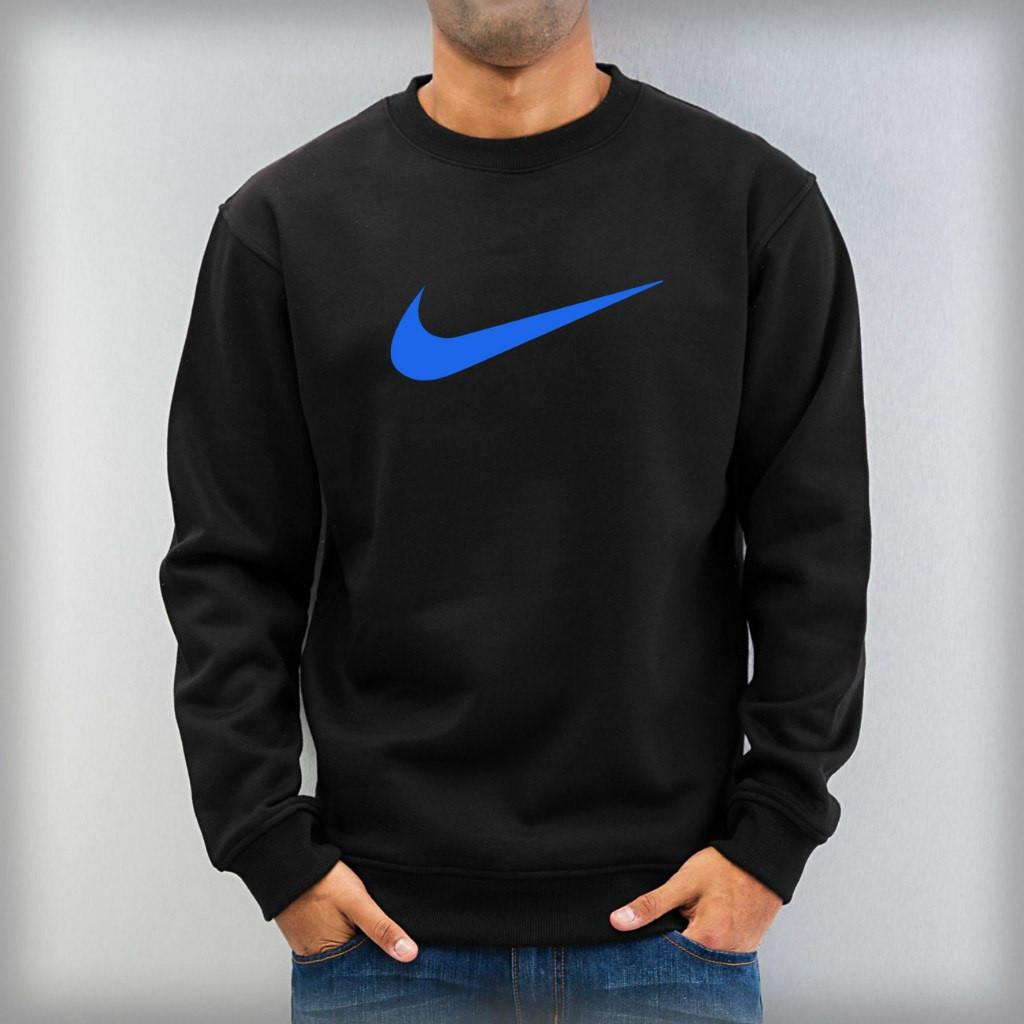 Світшот чорний Nike ( Найк ) ( синій лого )