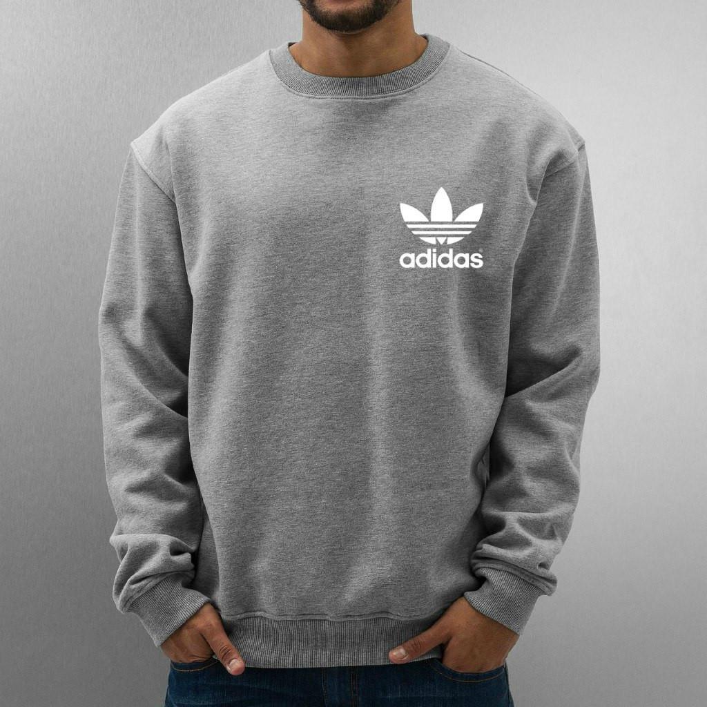 Свитшот серый Adidas ( Адидас ) ( мелкий цветок белый )