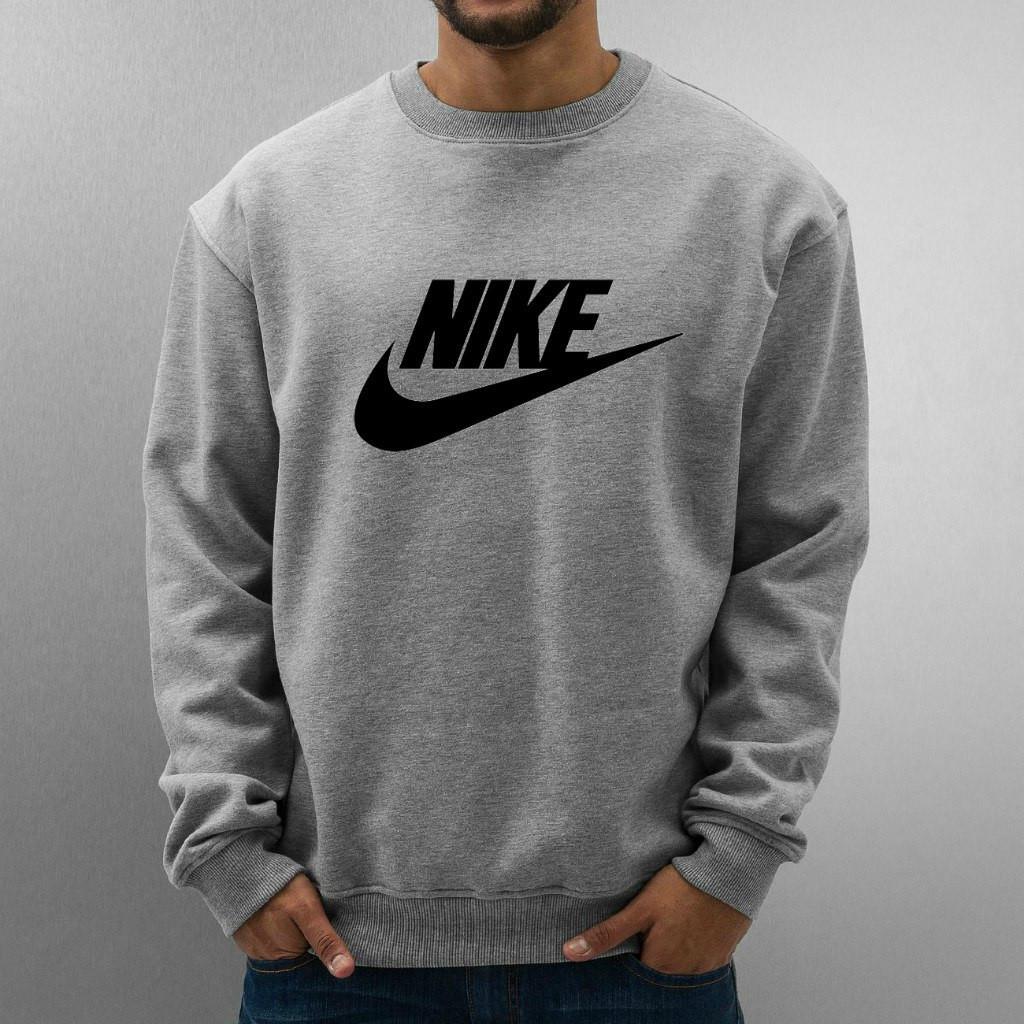 Свитшот серый Nike ( Найк ) ( галочка+имя )