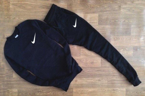 Мужской темно-синий спортивный костюм Nike галочка мелкая