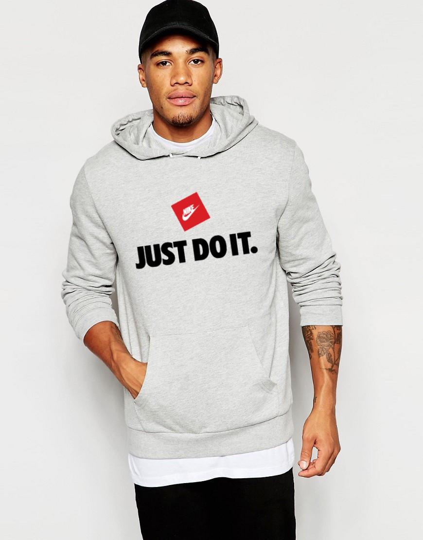 Худи Nike ( Найк ) Just Do It | Мужская толстовка | Кенгурушка серая