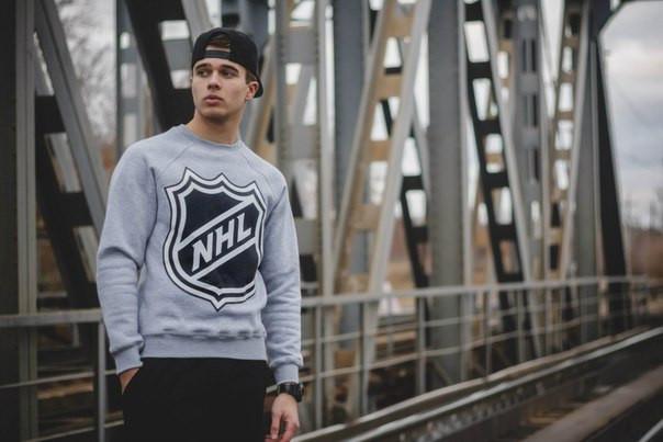 Світшот сірий чоловічий Щит NHL National Hockey League | Кофта