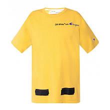 Футболка OFF WHITEв стилі Champion Arrows T-Shirt (Yellow) чоловіча,жіноча,дитяча