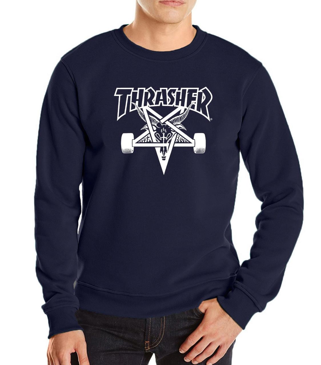 Свитшот синий Thrasher с белым принтом | Кофта синяя Thrasher