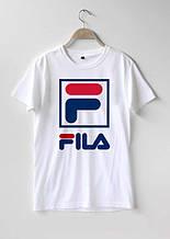 Футболкав стилі FILA New Wave біла з логотипом, унісекс (чоловіча,жіноча,дитяча)