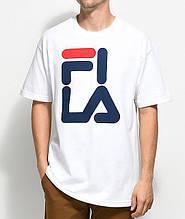 Футболкав стилі FILA 2018 біла з логотипом, унісекс (чоловіча,жіноча,дитяча)