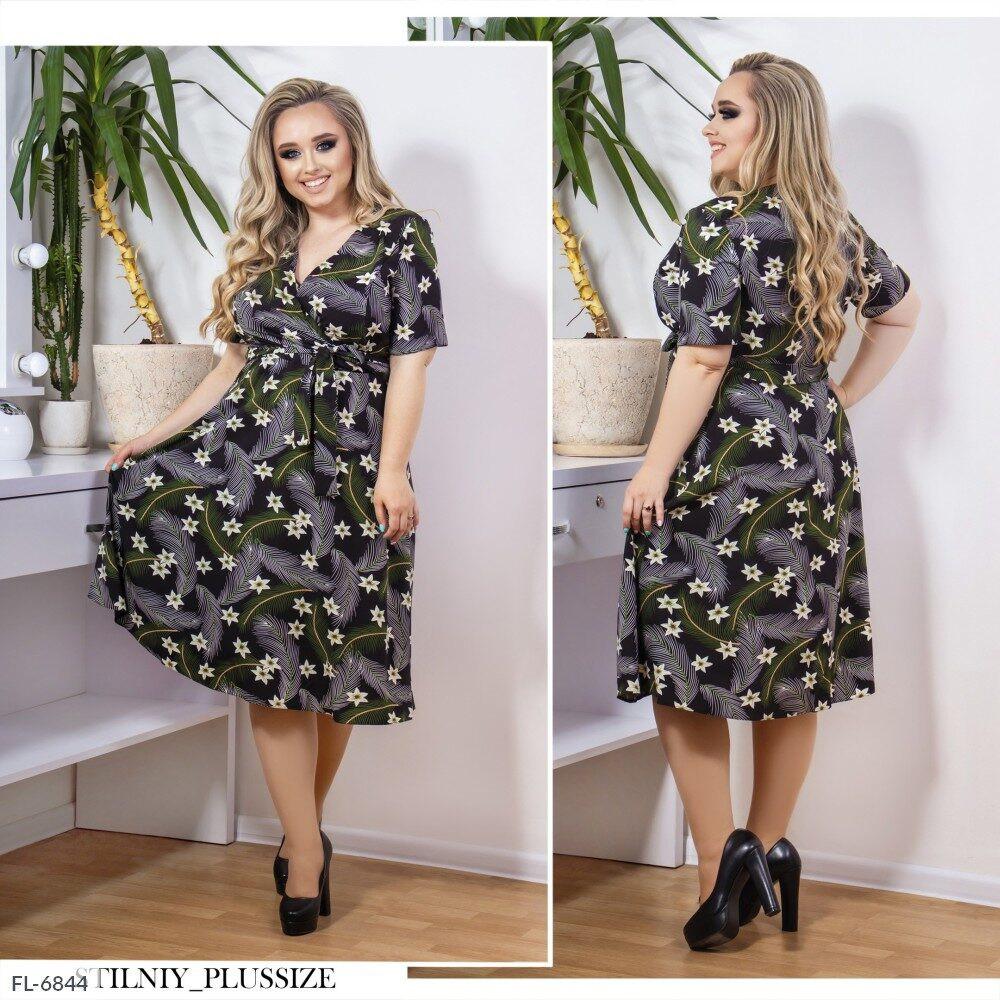 Легкое стильное платье а-силуэта верх с запахом   р-ры 48-58 арт. 3271