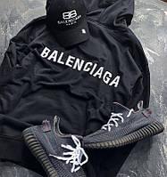 Худи Balenciaga 2019 minimal черное с логотипом, унисекс (мужское, женское, детское)