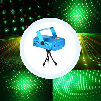 Лазерный проектор, стробоскоп, диско лазер UKC HJ08 4 в 1 c триногой  (4053)