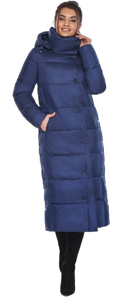 Куртка з високим коміром жіноча колір синій оксамит модель 41830