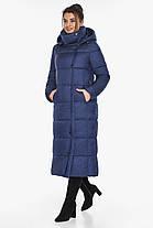 Куртка з високим коміром жіноча колір синій оксамит модель 41830, фото 2