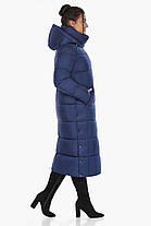 Куртка з високим коміром жіноча колір синій оксамит модель 41830, фото 3