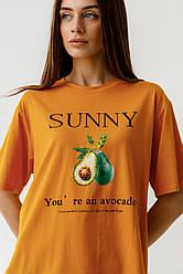 Хлопковая футболка с минималистическим принтом Авокадо в 4 цветах в размерах S, M, L, XL.