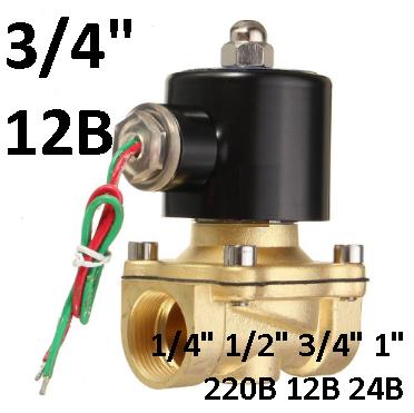 """Электромагнитный клапан 3/4"""" 12В нормально-закрытый"""