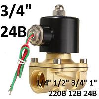 """Электромагнитный клапан 3/4"""" 24В DC нормально-закрытый, фото 1"""