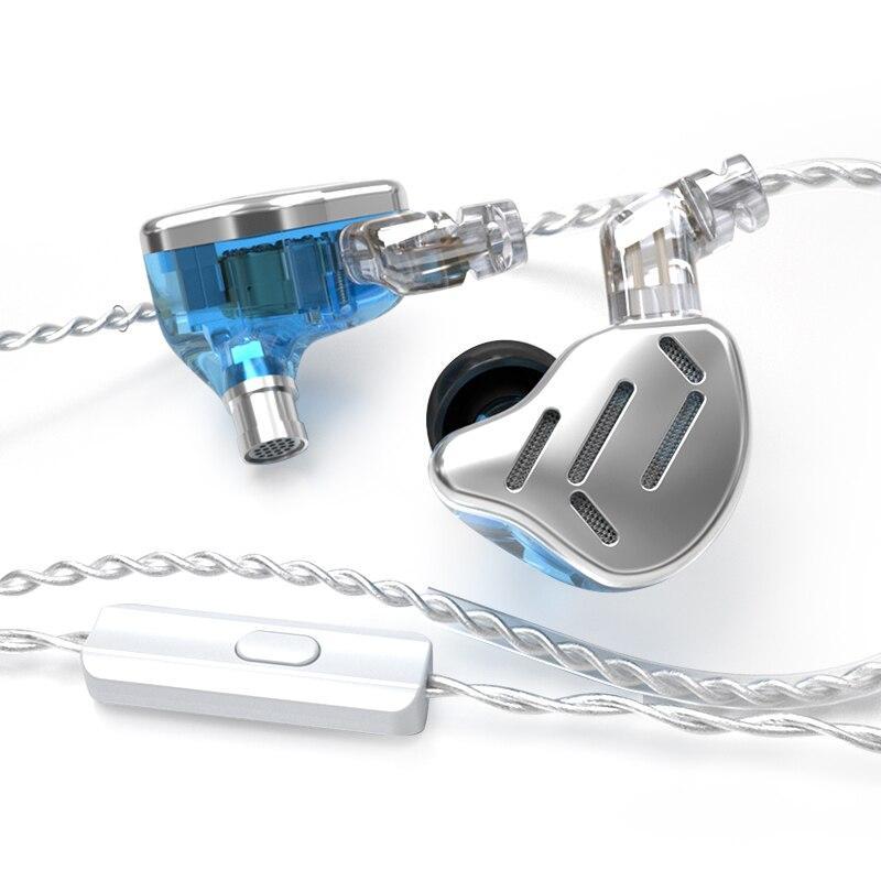 Навушники KZ ZAX з мікрофоном silver