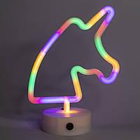 Неоновый светильник, Единорог на подставке, ночник, 18*10*24 см, батарейки и USB провод (140625)