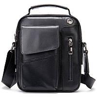 Вертикальная мужская сумка в плотной коже Vintage 20366 Черная, фото 1