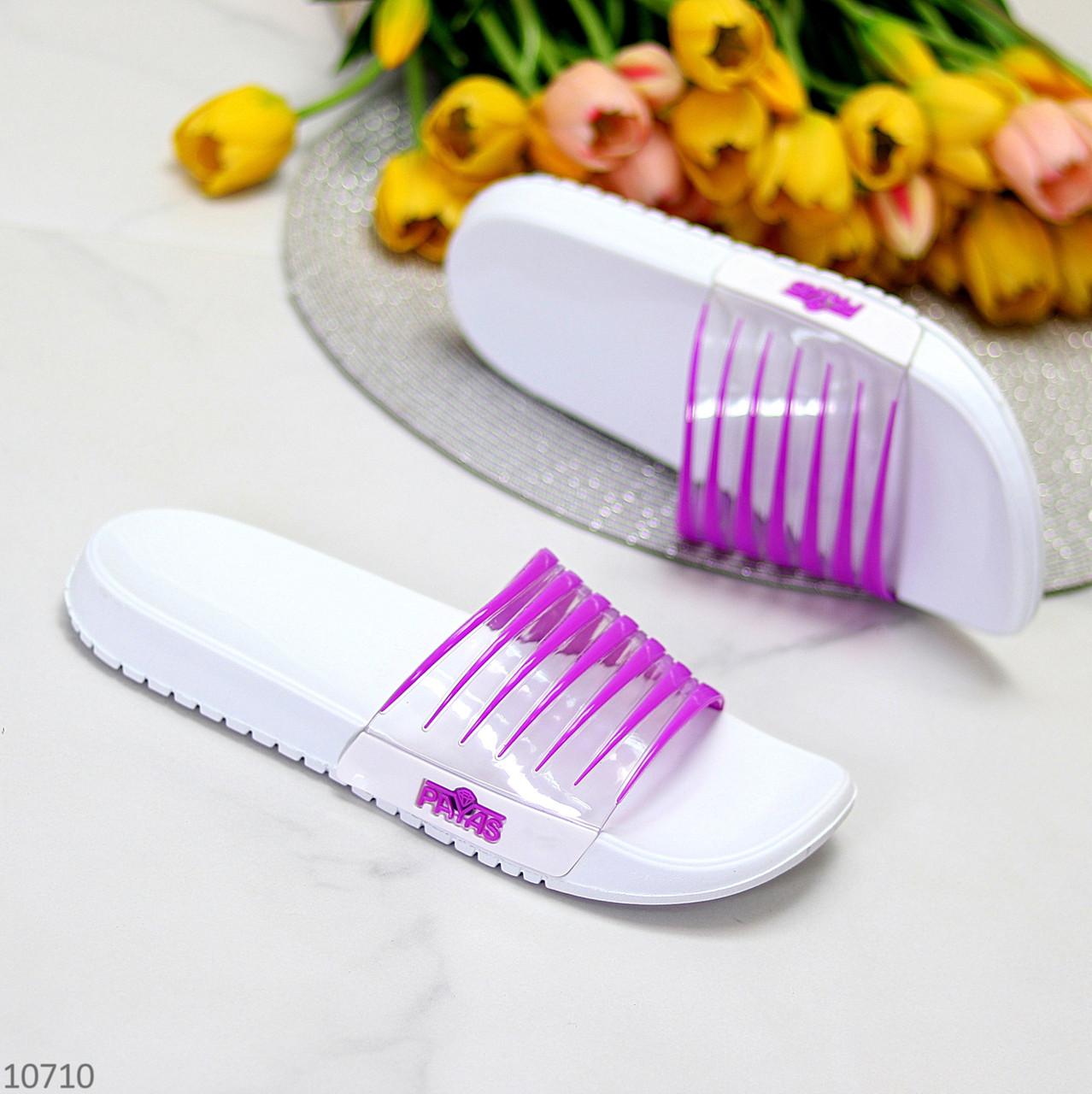 Зручні силіконові фіолетові шльопанці для пляжу низький хід
