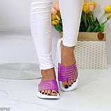 Зручні силіконові фіолетові шльопанці для пляжу низький хід, фото 4