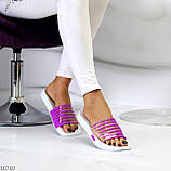 Удобные силиконовые фиолетовые шлепанцы для пляжа низкий ход, фото 5