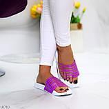 Удобные силиконовые фиолетовые шлепанцы для пляжа низкий ход, фото 6