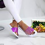 Удобные силиконовые фиолетовые шлепанцы для пляжа низкий ход, фото 8