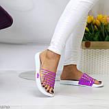 Удобные силиконовые фиолетовые шлепанцы для пляжа низкий ход, фото 10