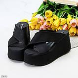 Модные черные замшевые шлепки на танкетке платформе 35-22,5 36-23см, фото 8