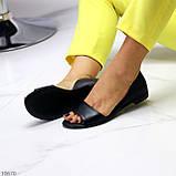 Шикарные босоножки черные из натуральной кожи, фото 4