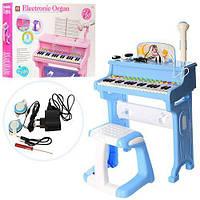 Детский синтезатор (пианино) со стульчиком, микрофоном и наушниками, розового цвета  арт. 8818-206AB