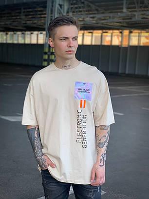 Мужская футболка бежевого цвета oversize, фото 2