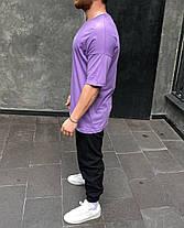 Мужская футболка oversize фиолетовая с надписью, фото 2
