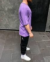 Чоловіча футболка oversize фіолетова з написом, фото 3