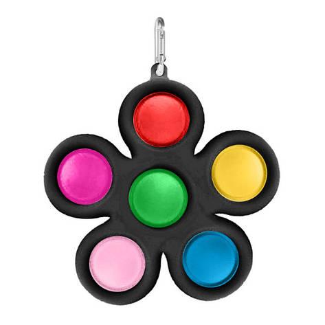 Simple Dimple Антистрес Іграшка Сімпл Дімпл - Pop It - Поп Іт - Попит - Popit) - Чорний Квітка з карабіном -, фото 2