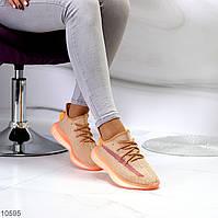 Комфортные абрикосовые текстильные тканевые женские кроссовки в ассортименте (обувь женская)