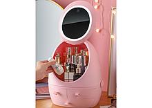 Органайзер для косметики з LED дзеркалом W-2 рожевий