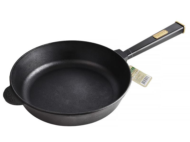 Сковорода чавунна з ручкою Optima-Black 28 x 6 см Brizoll (О2860-Р1)