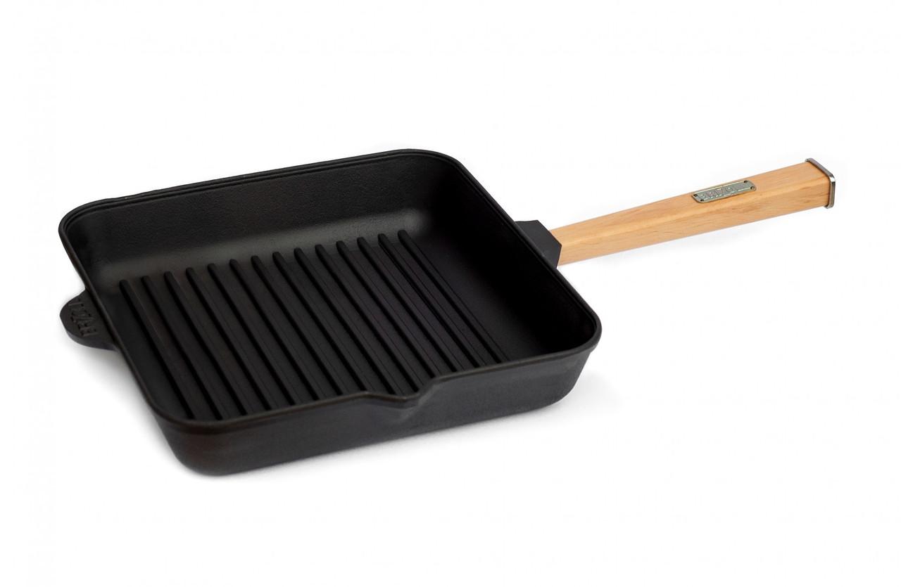 Сковорода Brizoll чавунна гриль Optima 260х260х50 мм(О262650Г-Р)