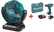 Акумуляторний вентилятор Makita CF101DZ + акк шуруповерт HP333DWYE + 2 акб 12 V 1.5 Ah + з/у + кейс